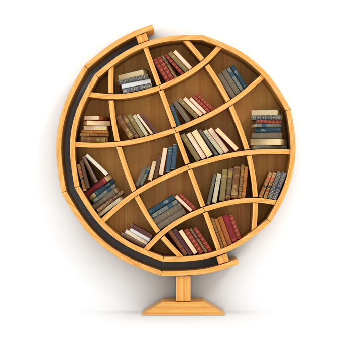 Symbol image of our customs glossary (a bookshelf in the form of a globe for global customs declarations)